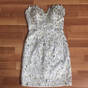 Atria Couture Gold Silver Sequin Beaded Dress 2
